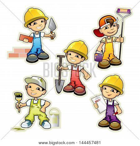Vector illustration of a five builders set