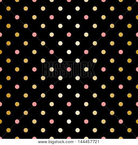 Tile vector pattern with golden and pink polka dots on black background