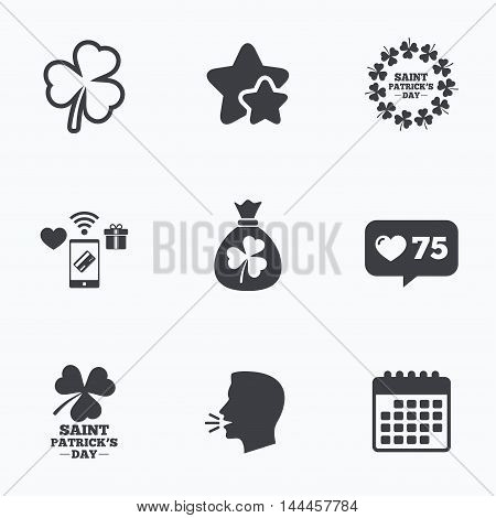 Saint Patrick day icons. Money bag with clover sign. Wreath of trefoil shamrock clovers. Symbol of good luck. Flat talking head, calendar icons. Stars, like counter icons. Vector