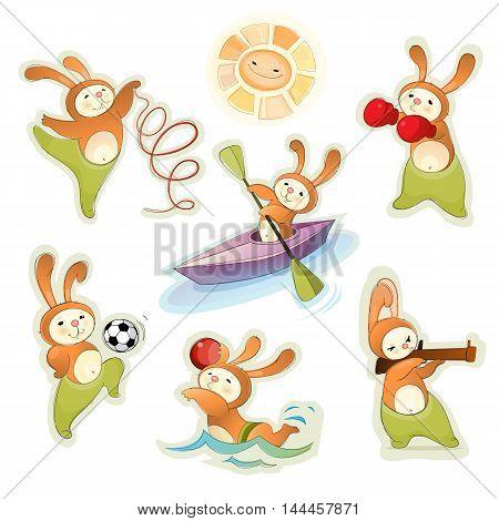 Vector illustration of a sport hares set