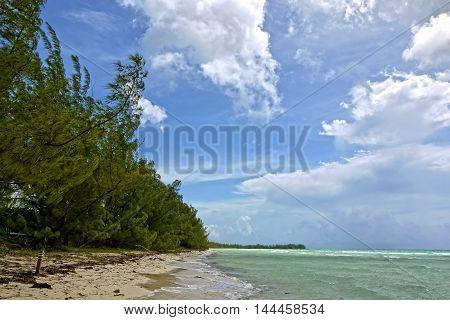 Beautiful view of Gold Rock Beach, Grand Bahama. BAHAMAS.