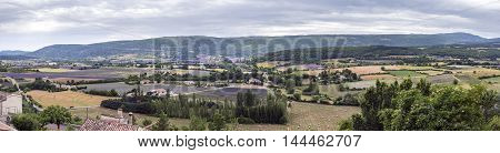 Panorama of blooming lavender fields near Sault Provence France