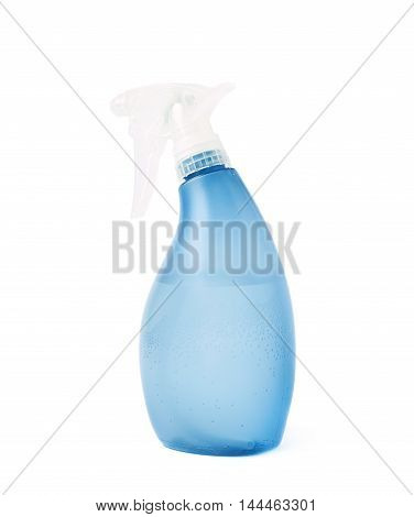 Blue plastic pulverizer spray isolated over the white background