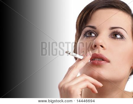 Attractive retro woman smoking over black and white background poster