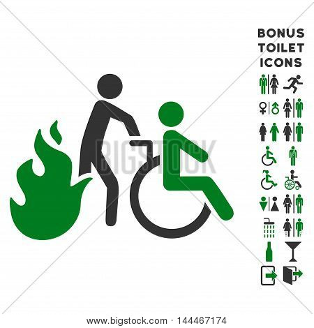 Fire Patient Evacuation icon and bonus man and lady restroom symbols. Vector illustration style is flat iconic bicolor symbols, green and gray colors, white background.