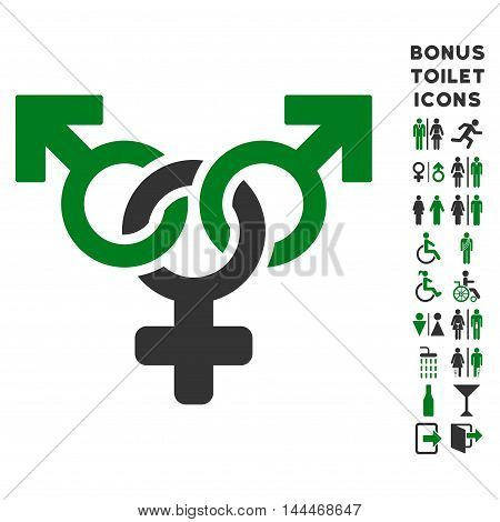 Polyandry icon and bonus male and female restroom symbols. Vector illustration style is flat iconic bicolor symbols, green and gray colors, white background.
