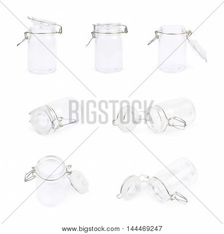 Glass jar with a lid isolated over the white background, set of seven different foreshortenings
