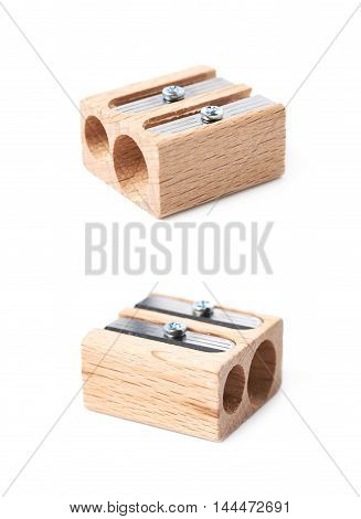 Wooden pencil sharpener isolated over the white background, set of two different foreshortenings