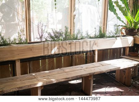 Empty wooden chair in garden stock photo