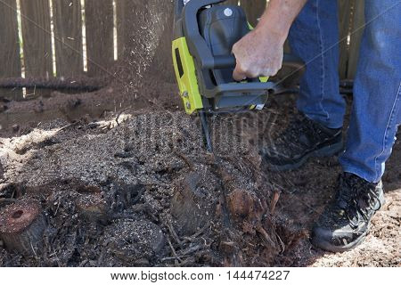 cutting out palm tree roots with chain saw