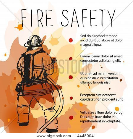 Template of fire safety vector placard. Silhouette of firefighter on a background of fire.