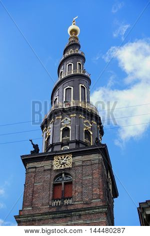 View of the Vor Frelsers Kirke Tower in Copenhagen Denmark