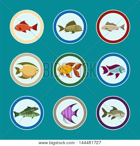 Fish on the plate vector icons. Sea food restaurant menu icons set