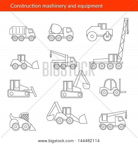 Construction Machinery icons in a linear style . Vector image of construction equipment poster