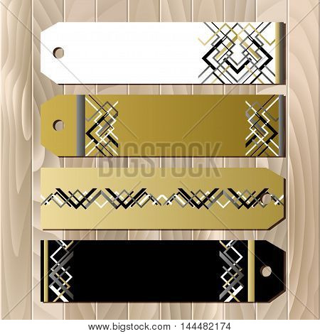 Badge and card template in art deco outline style. Holiday background mock for banner or ticket. Golden silwer white and black luxury background template for sale. Vector illustration.