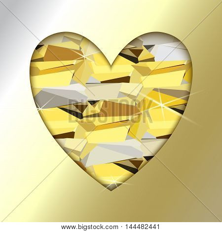 Gold heart with golden background. Heart frame with gold geometric pattern. Valentine love card with triangles pattern and shiny sparkles. Vector illustration stock vector.