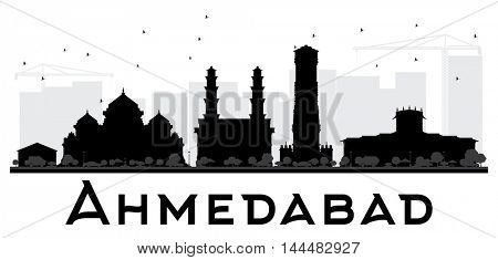 Ahmedabad City skyline black and white silhouette. Simple flat concept for tourism presentation, banner, placard or web site. Business travel concept. Cityscape with landmarks