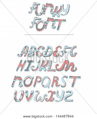 Vector isolated on white background hand drawn alphabet from A to Z drawn in pastel colors blue and pink. Cursive style font good for lettering or creative writing. English decorated letters