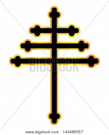 A Christian Maronite cross in black and gold over a white background