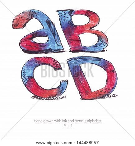 Large raster illustration with letters sequence from a to d. Part of hand drawn alphabet drawn with ink and color pencils in red and blue gradient style. Isolated on white inclined capital letters.