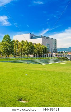 Zagreb, Croatia, August 15th, 2016: New public park and building of national and university library in Zagreb, Croata, modern architecture, glass facade
