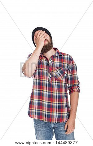 Man doing facepalm or cover his eyes and face with palm