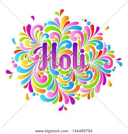 Colorful celebration ornate splash Holi background. Abstract Holi lettering, Indian festival greeting card, template design