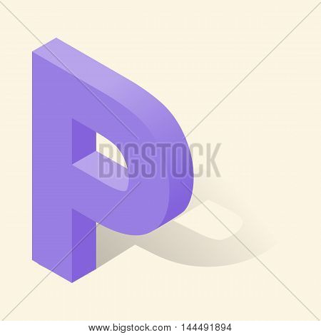 P letter in isometric 3d style with shadow. Violet P letter vector illustration