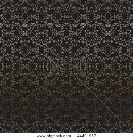 Dark lace seamless pattern with black background, Wedding decoration or invitation gesign. Vector illustration stock vector.