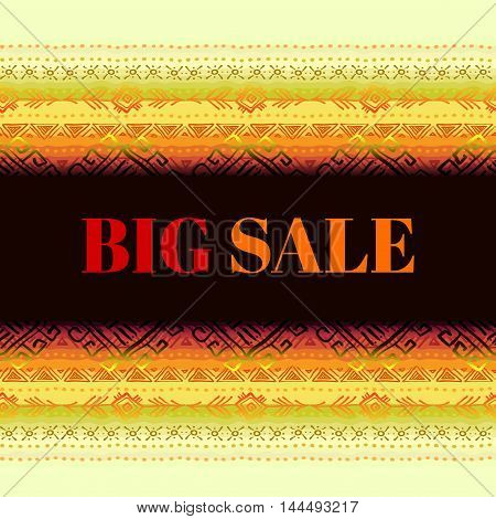 Big sale banner. Horizontal seamless border frame with tribal stripe ornament in light background. Geometric ethnic colorful design. Vector illustration stock vector.