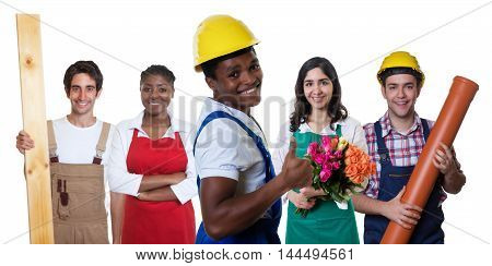 Laughing african american construction worker with group of other workers on an isolated white background for cut out