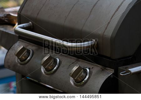 stainless gas barbecue (bbq) grill close-up .