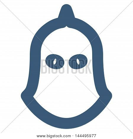 Executioner Helmet vector icon. Style is stroke flat icon symbol, blue color, white background.