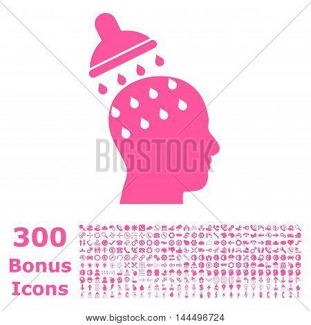 Brain Washing icon with 300 bonus icons. Vector illustration style is flat iconic symbols, pink color, white background.