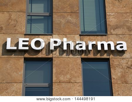 Amsterdam Netherlands-august 26 2016: letters leo pharma on a building