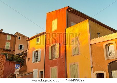 Famous colorful Roussillion village in Provence countryside, France
