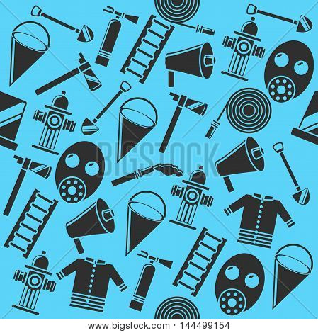 Color vector collage with firefighter equipment. Helmet, helm, ax, hatchet, axe and other