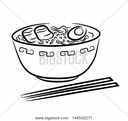 Ramen Noodle. A hand drawn vector illustration of a Japanese ramen noodle.