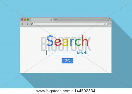 Simple Browser Window On Blue Background