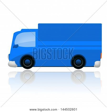 Blue delivery van isolated on white background