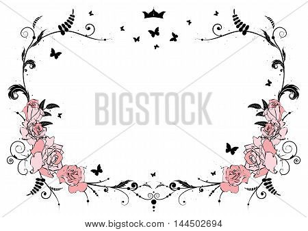 vector frame with pink roses crown and butterflies