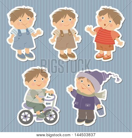 image of young boys for labels and stickers
