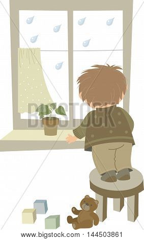 little boy looking out the window on a rain cartoon illustration