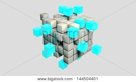 abstract meta and l blue cubes 3d illustration