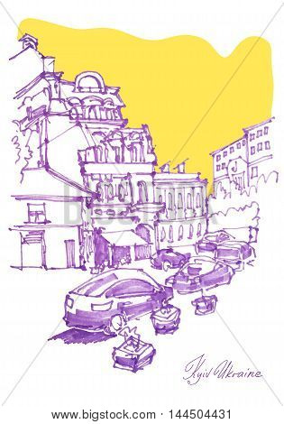 freehand sketch drawing of Podol street in Kyiv Ukraine, pleinair artwork vector illustration