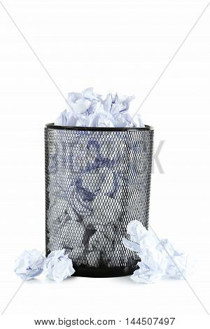 Office Trashcan With Crumpled Paper Balls Isolated On White