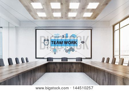 Meeting room interior with large team work poster wooden table and leather chairs. Concept of brainstorming. 3d rendering. Mock up