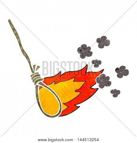 freehand retro cartoon hangman's noose on fire