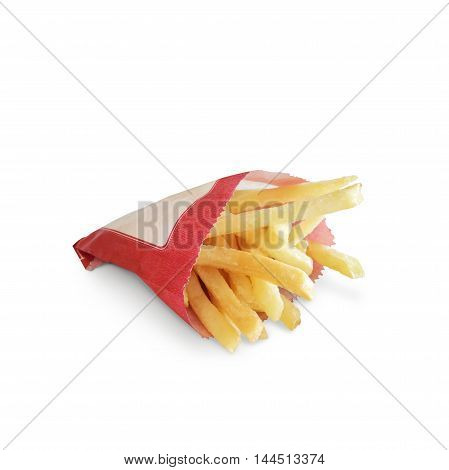 French fries isolate on white as background
