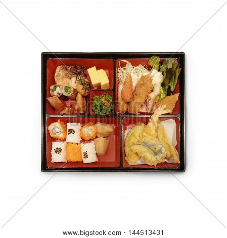 Japanese Box Lunch Bento set of prawn tempura in japanese restaurant.